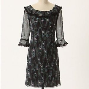 ANNA SUI ANTHROPOLOGIE BLACK CHAIR DRESS SIZE 0